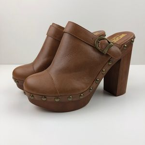 Jeffrey Campbell Woodies Brown Leather Clog Heels